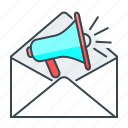 e-mail, envelope, mail, marketing, marketing e-mail, mouthpiece icon