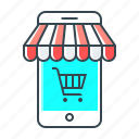 advertising, mobile, mobile shop, shop, shopping, smartphone, store icon
