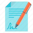 agreement, contract, document, documents, pen icon