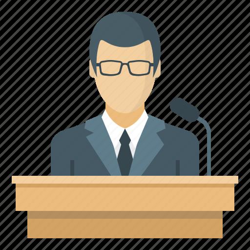 business, conference, speaker, tribune icon