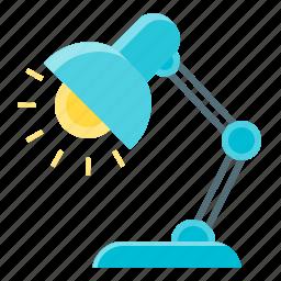 lamp, light, table lamp, work icon