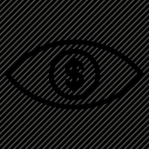 dollar sign, eye on target, money eye, money sight, setting up targert, success target icon