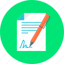 business, contract, document, pen, signature icon