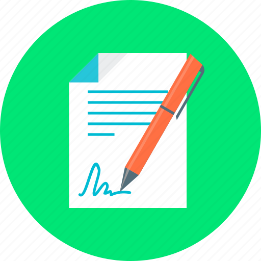 business, contract, document, pen, signature icon