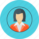 account, avatar, businesswoman, woman icon
