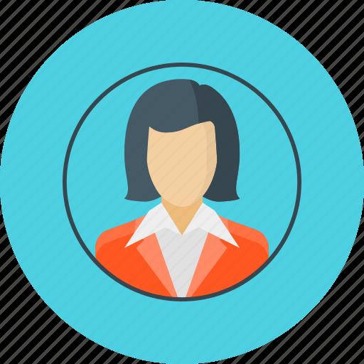 account, avatar, businesswoman, woman icon