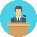 business, conference, speaker, tribune icon