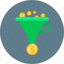 conversion, filter, funnel, money icon