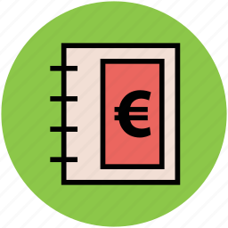 diary, euro sign, jotter, notebook, notepad, stationery, steno pad icon