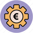 business tools, economy indication, euro sign, gear, investment plan, money plan icon