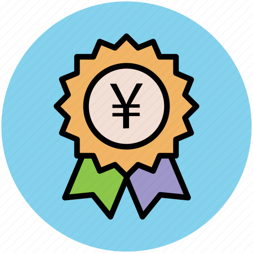 award, business achievement, financial concept, investment, ribbon badge, stamp, yen sign icon