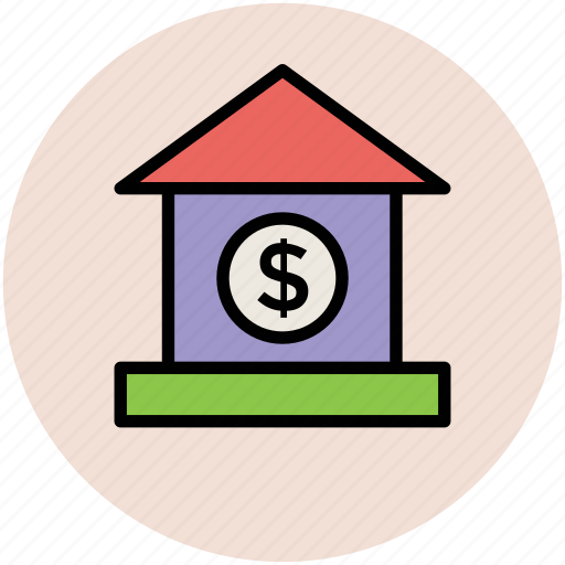 bank, bank building, house, insurance, real estate icon