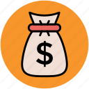 dollar, finance, investment, money pouch, money sack, saving icon