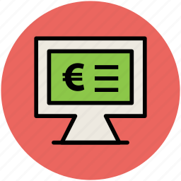 euro display, financial concept, infographic element online business, monitor screen icon
