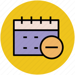 calendar, date, day, event, remove sign, schedule, yearbook icon