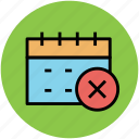 calendar, date, day, delete sign, event, schedule, yearbook icon