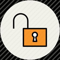 access, open lock, padlock, privacy, private, unlock icon