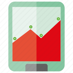 chart, graph, mobile, phone, plot icon