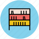 books, bookshelf, knowledge, library, study corner icon