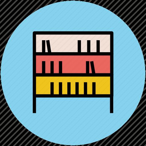 books, bookshelf, knowledge, library, study corner icon