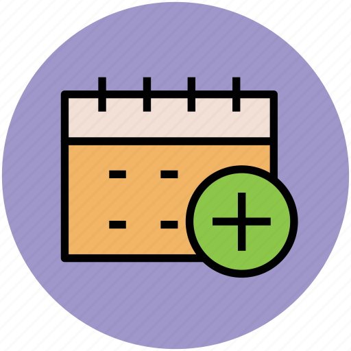 add sign, calendar, date, day, event, schedule, yearbook icon