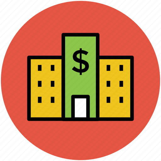 bank, building, dollar sign, finance, insurance company, modern office, office building, saving center icon