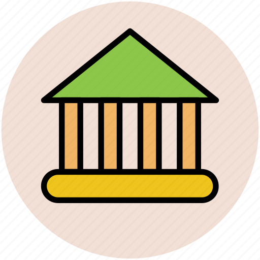 bank, building column, building pillars, courthouse, estate, real icon