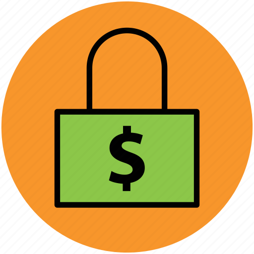 dollar sign, financial concept, lock, locked, padlock, protection, safe, secure icon
