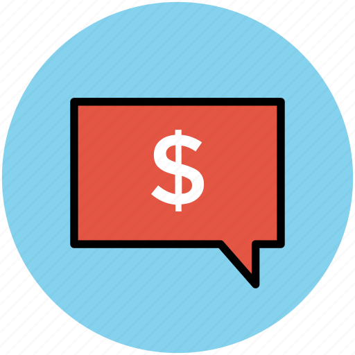 business communication, chat, communication, dollar sign, financial discussion, speech bubble icon