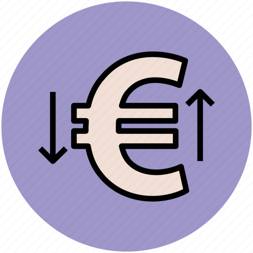 economy, euro falling, euro raising, euro sign, financial symbol, market value icon