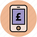business, currency concept, finance, mobile screen, pound sign icon