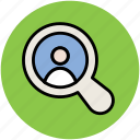 candidate, find person, magnifying glass, searching, searching candidate icon
