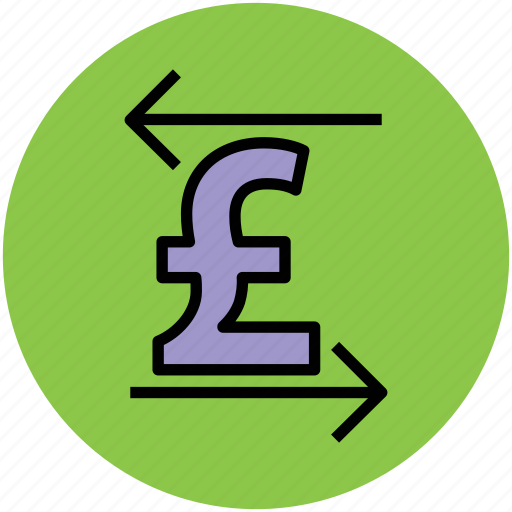 arrows, currency value, finance, left and right, pound, stock market icon