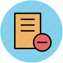 delete file, document, infographic element, remove sign icon