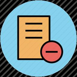 delete file, document, infographic element, remove sign icon