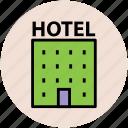 building, hotel, inn, motel, public house, real estate icon