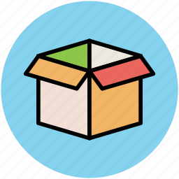 carton box, deliver, opened box, package, packaging, storage icon