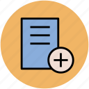 add document, add sign, agenda, file, new document, plan, report, text sheet icon