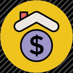 bank, dollar, finance, house, insurance icon