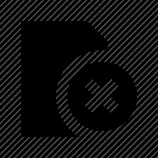 cancel file, cross, delete document, document, remove file icon