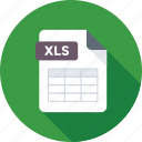 filetype, xls, xls document, xls extension, xls file icon
