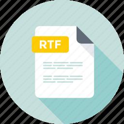 data format, document, file, filetype, rtf, rtf document, rtf extension, rtf file, rtf format icon