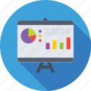 bar chart, business presentation, chalkboard, easel, graph presentation icon