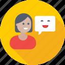 chat bubble, chatting, customer representative, female, speech bubble icon