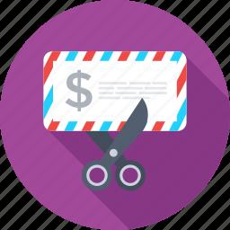 envelope, expire letter, expire post, post envelop, scissor icon