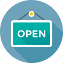 commercial, hanging sign, open, open sign, shop sign icon