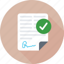 approved documents, documents, office document, sheet, text sheet icon