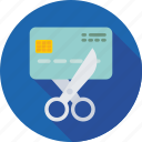 banking, card expired, credit card, cutting card, cutting credit card expired icon
