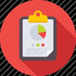 clipboard, diagram, graph report, pie chart, pie graph icon