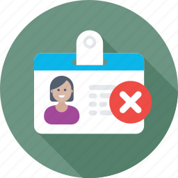 female, id badge, student card, volunteer card, wrong card icon